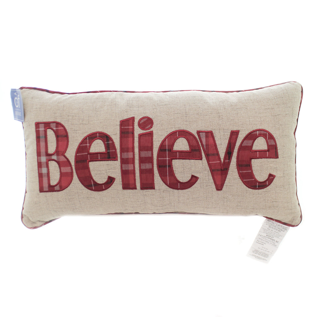 Christmas BELIEVE PLAID PILLOW Fabric Home Decor Accent Holiday 861562391A