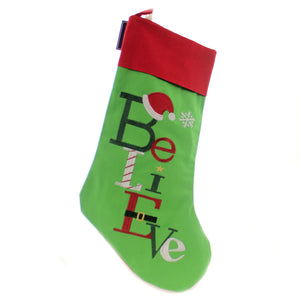 Christmas BELIEVE STOCKING Fabric Santa Hat Snowflake 842532375A