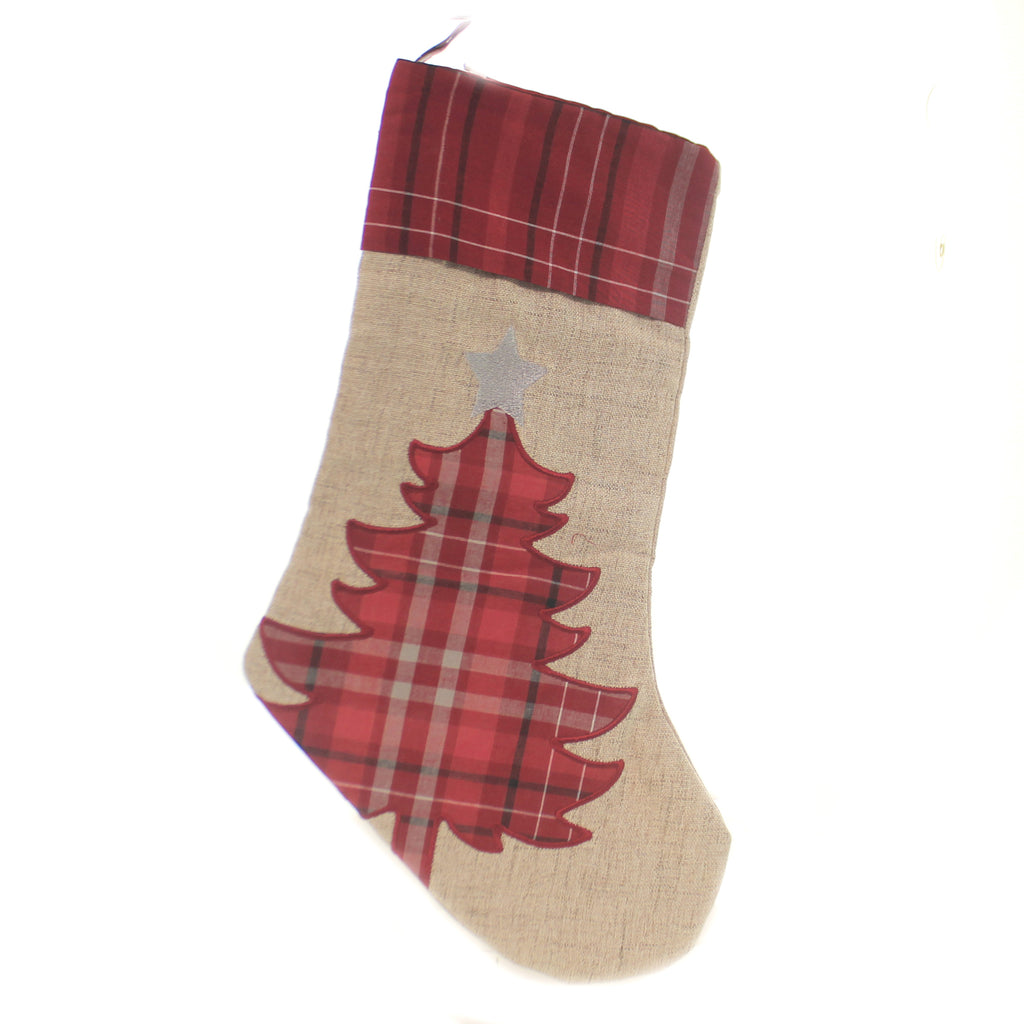 Christmas PLAID CHRISTMAS TREE STOCKING Fabric Silver Star Presents 842532391B