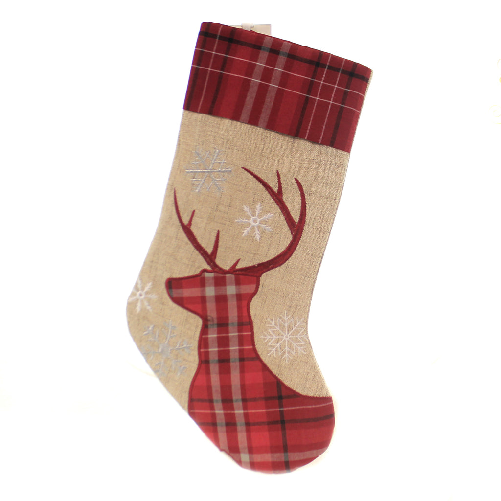 Christmas PLAID CHRISTMAS DEER STOCKING Fabric Snowflakes Presents 842532391C