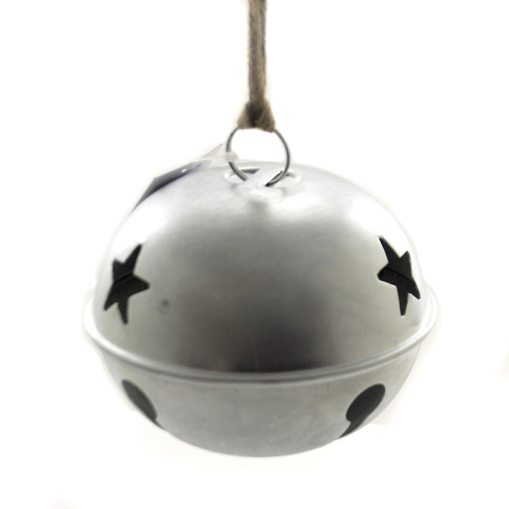 Christmas SILVER JINGLE BELL 6 INCH Metal Stars Holiday 53352A
