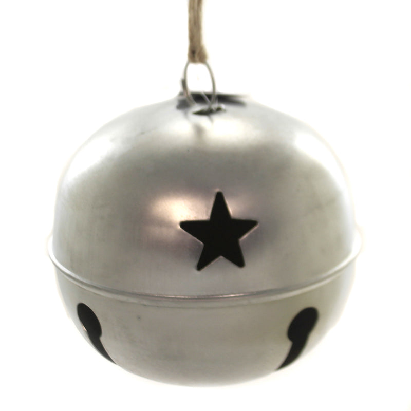 Christmas SILVER JINGLE BELL 7 INCH Metal Star Holiday 533552B