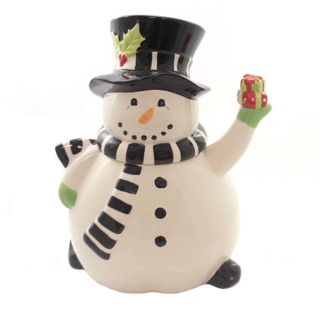 Tabletop SNOWMAN COOKIE JAR. Ceramic Christmas Tophat Gift 51744D