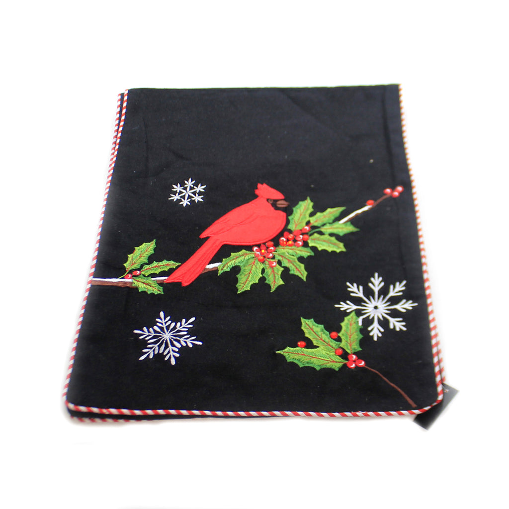 Tabletop BLACK TABLE RUNNER W/CARDINAL Cotton Embroidered Snowflakes 53127D
