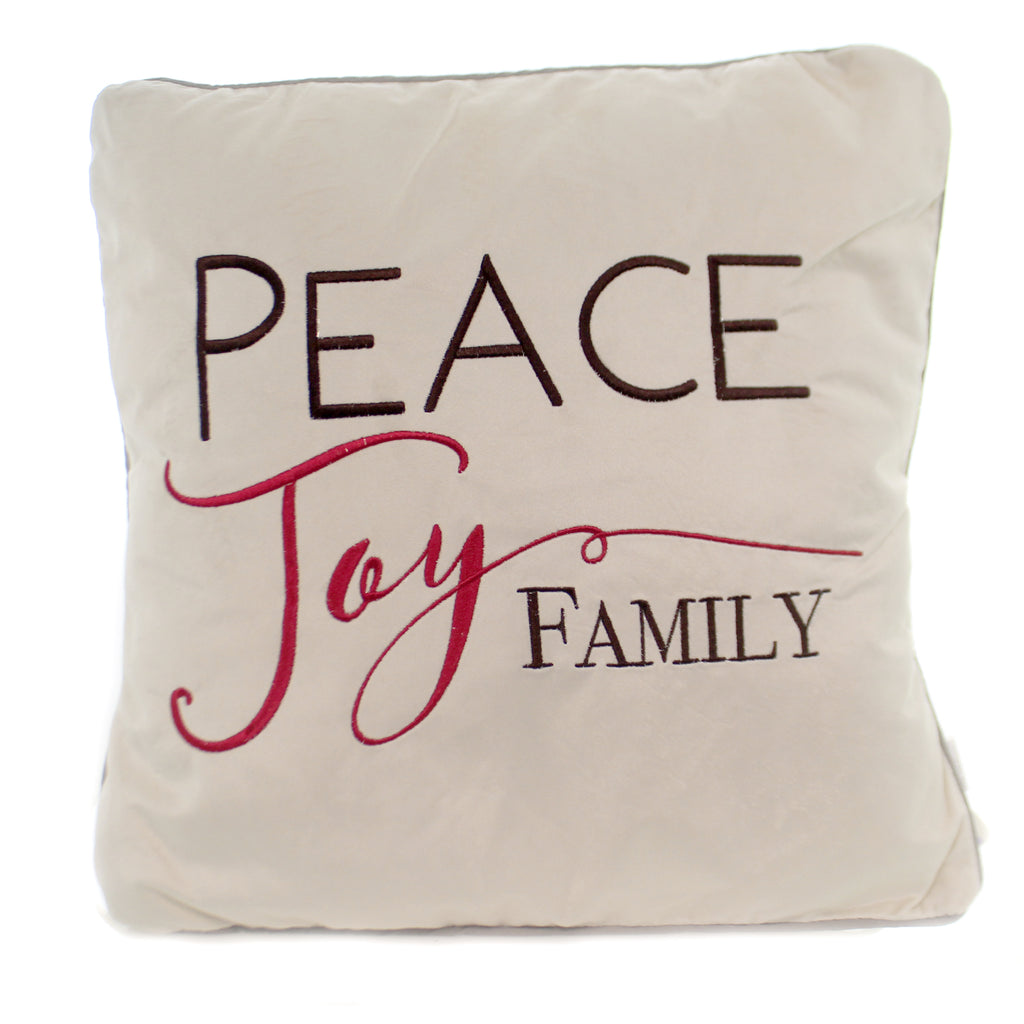 Christmas PEACE JOY FAMILY PILLOW Fabric Home Decor Ex25601