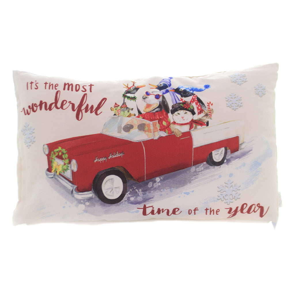 Christmas WONDERFUL TIME OF YEAR PILLOW Car Dog Cat Penguin Home Decor Ex25216