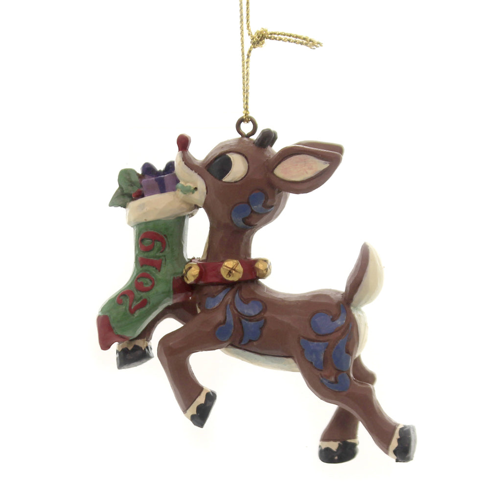 Jim Shore RUDOLPH HOLDING 2019 STOCKING Polyresin Ornament Dated 6004148