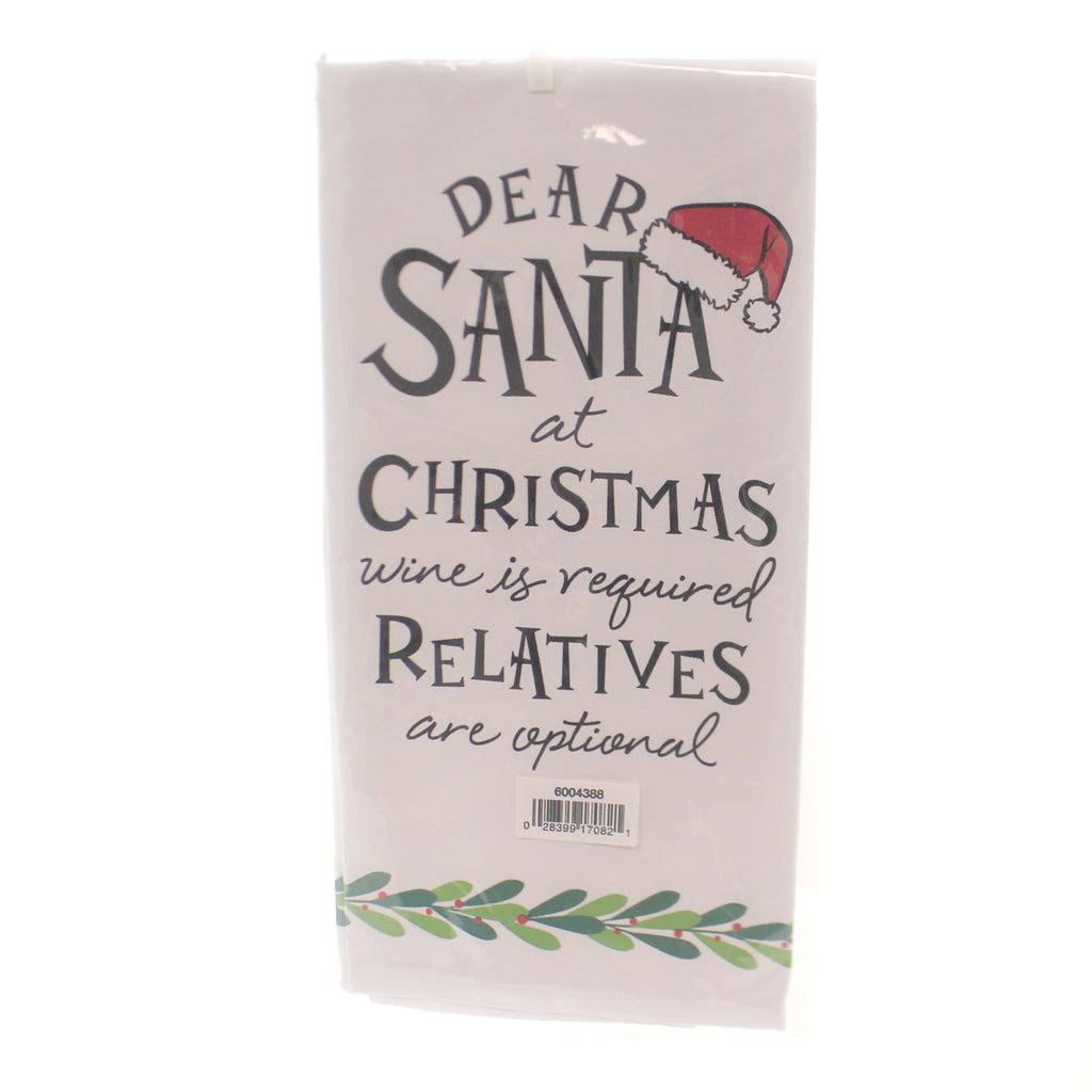 Christmas DEAR SANTA WINE IS REQUIRED Cotton Tea Towel 6004388