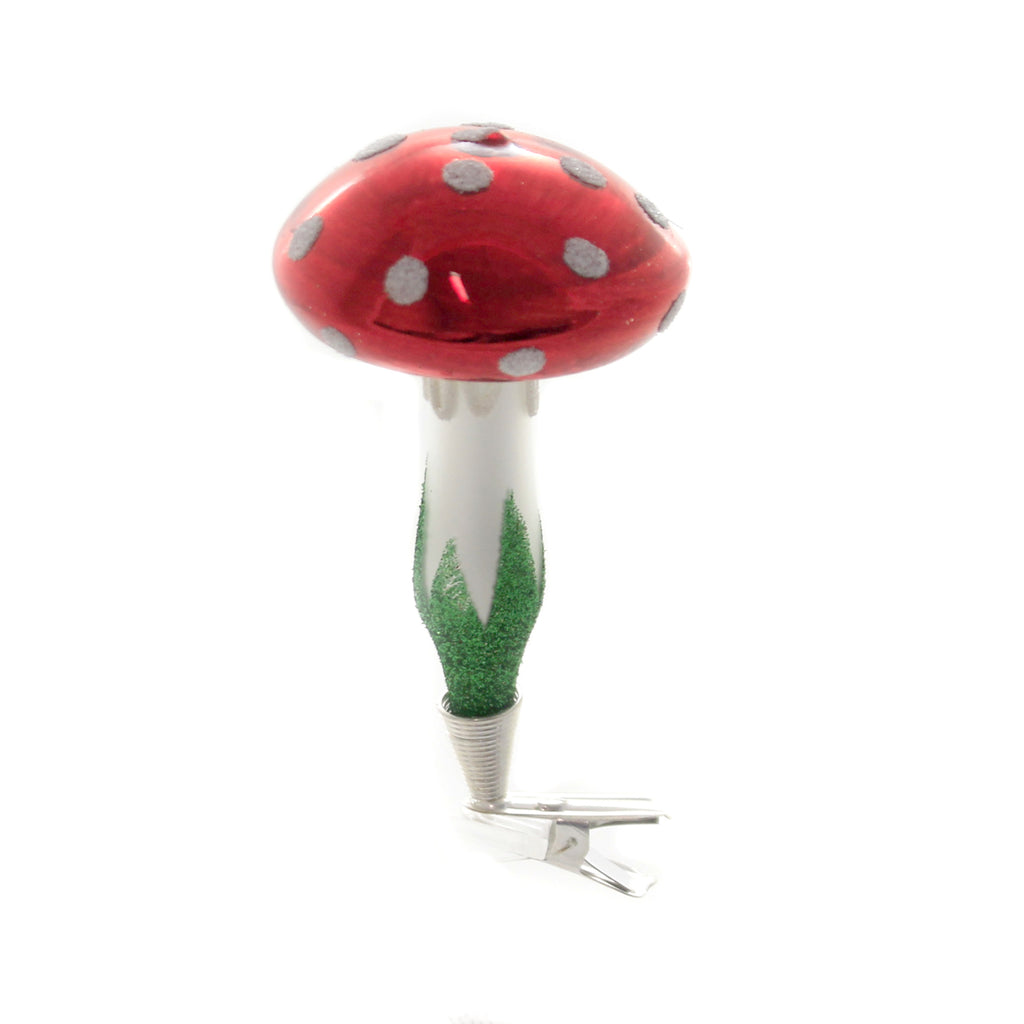 "Golden Bell Collection 3.5 "" CLIP ON MUSHROOM Glass Ornament Landscape Nvv138"