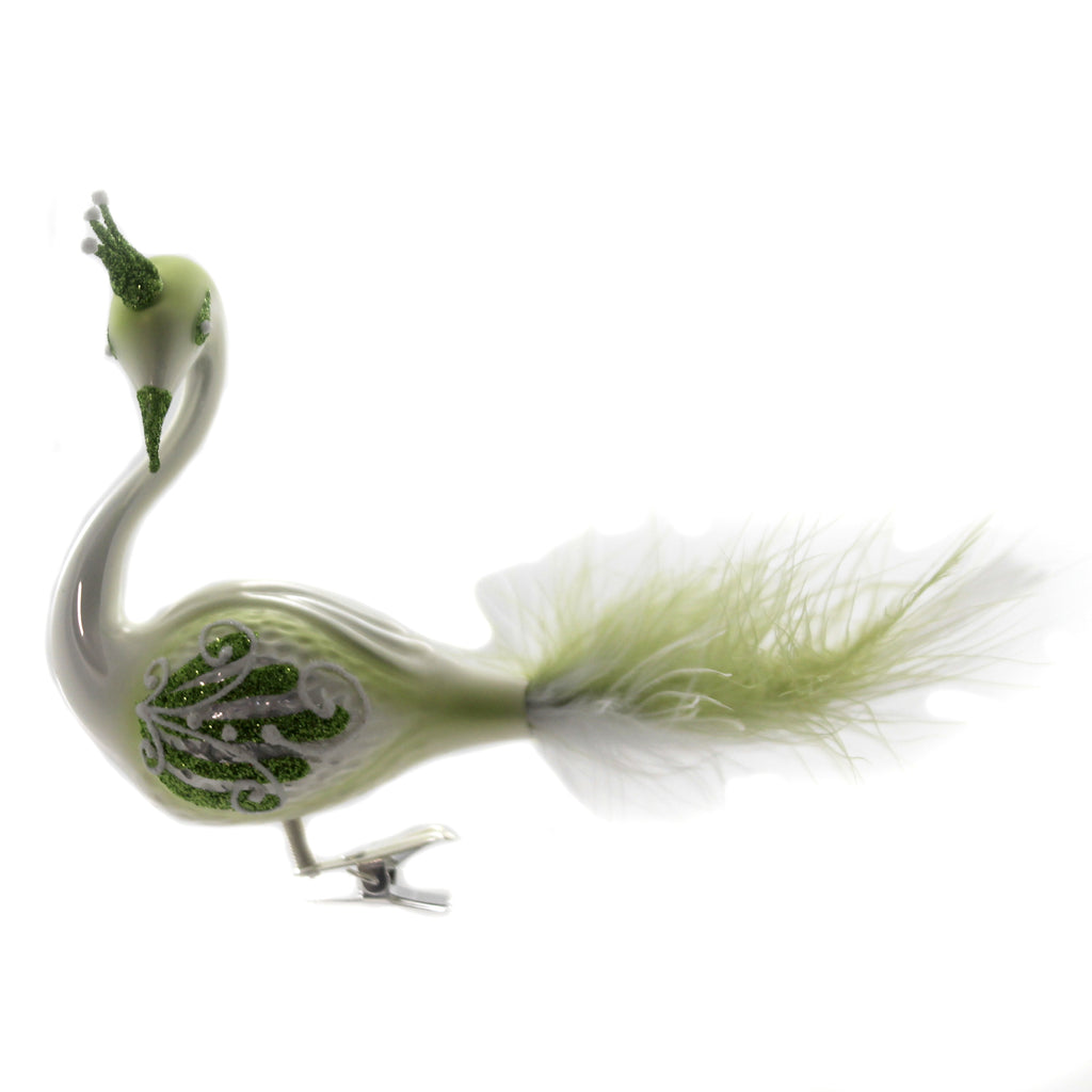 Golden Bell Collection GREEN OMBRE CLIP ON PEACOCK Ornament Bird Feather Crown Br485