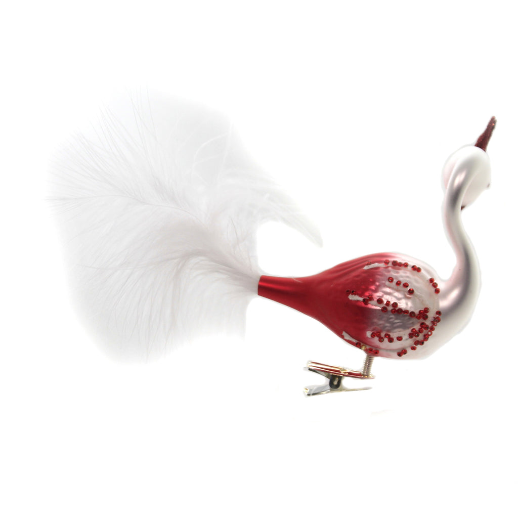 Golden Bell Collection RED & WHITE OMBRE PEACOCK Ornament Clip On Bird Feather Br767