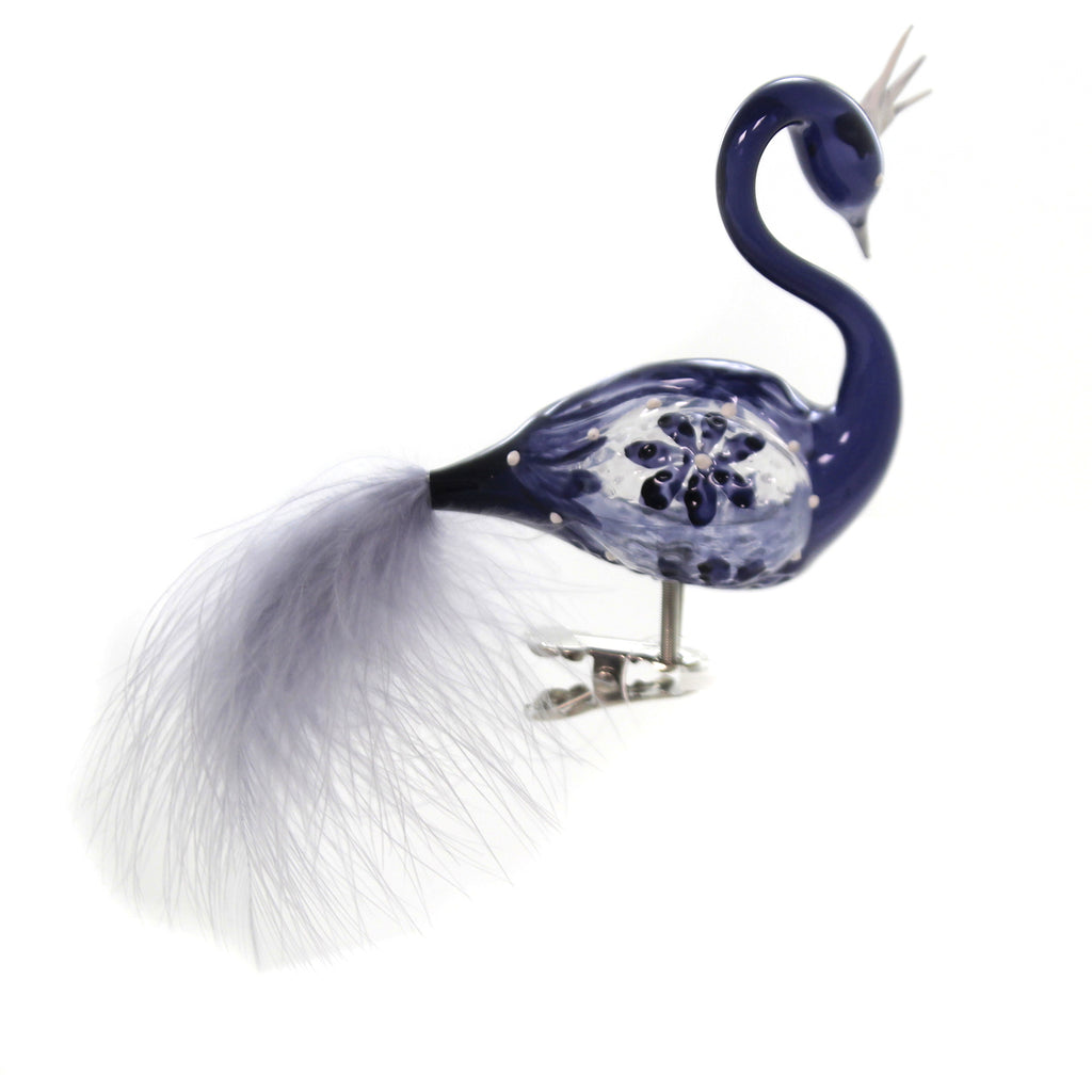 Golden Bell Collection NAVY IRIDESCENT PEACOCK Ornament Cip On Bird Feather Bra056