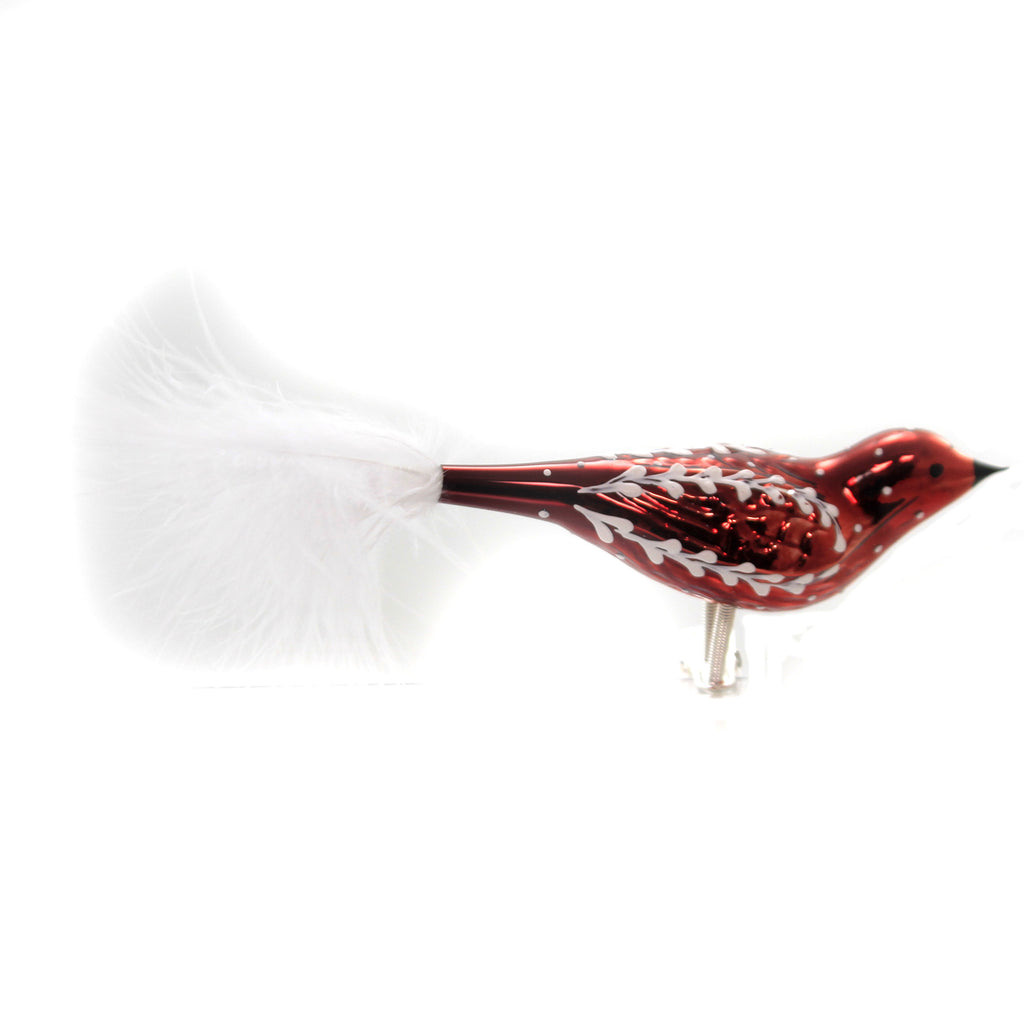 Golden Bell Collection RED SLAVIC SCOLL CLIP ON Ornament Feather Czech Br773