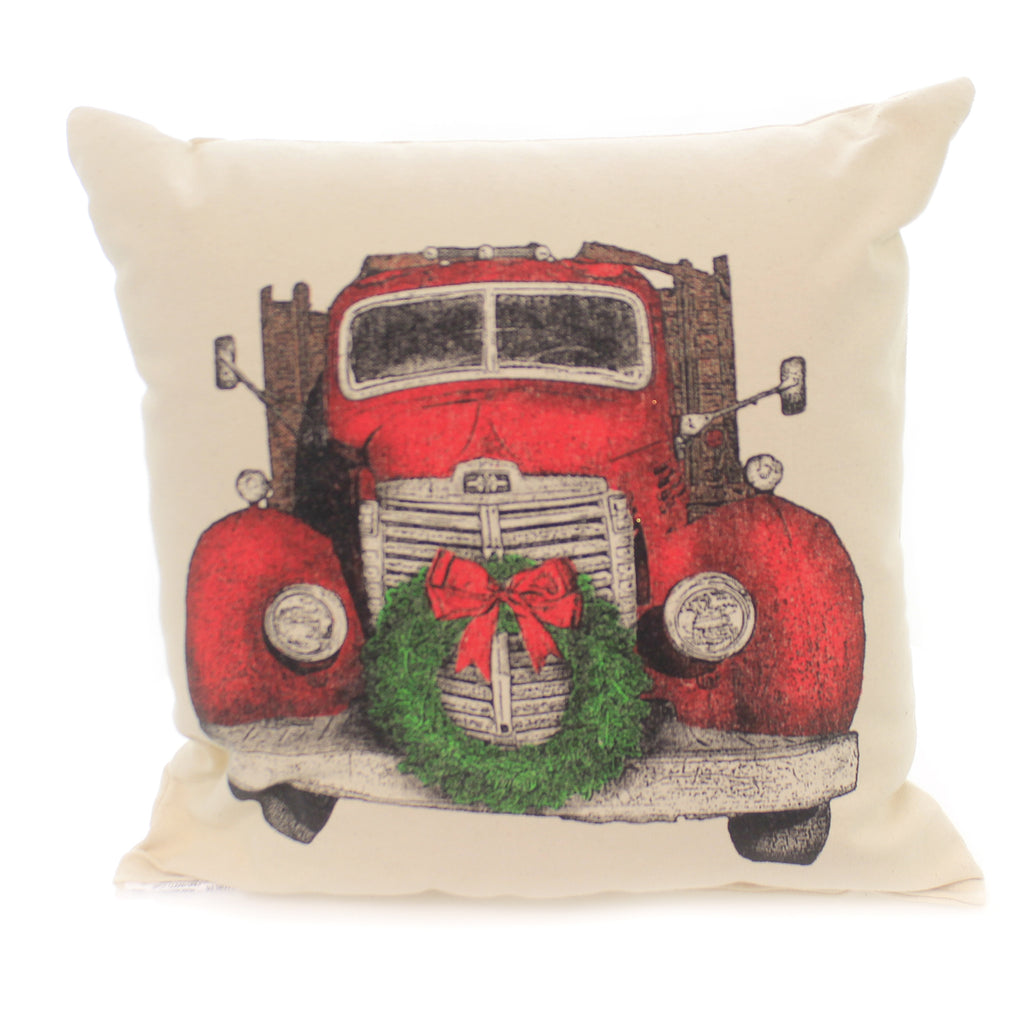 Christmas TRUCK WITH WREATH PILLOW Fabric Home Decor Mptruckwreath