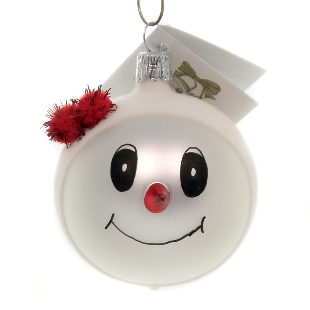Golden Bell Collection SNOWMAN WITH RED POM HAT Glass Glittered Ornament Sn707a