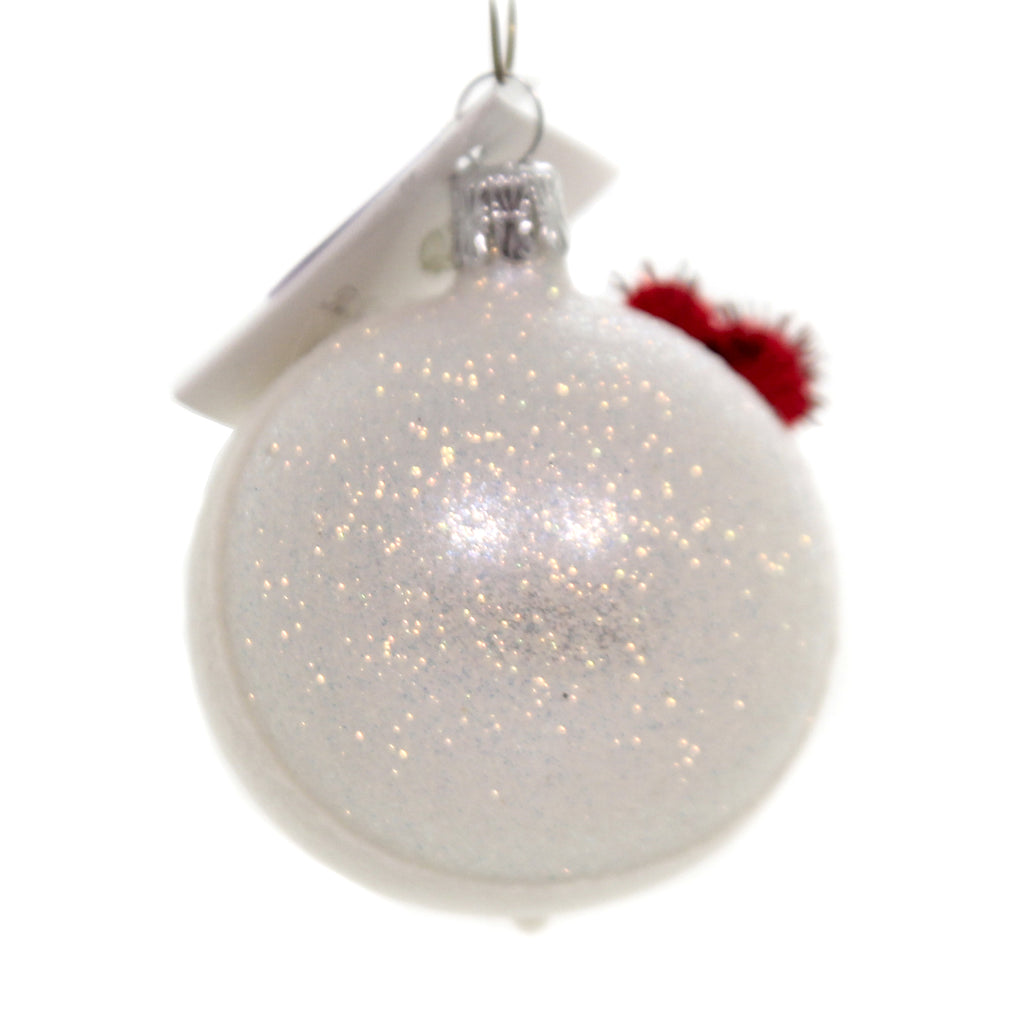 Golden Bell Collection Snowman With Red Pom Hat Glittered Ornament - SN707A