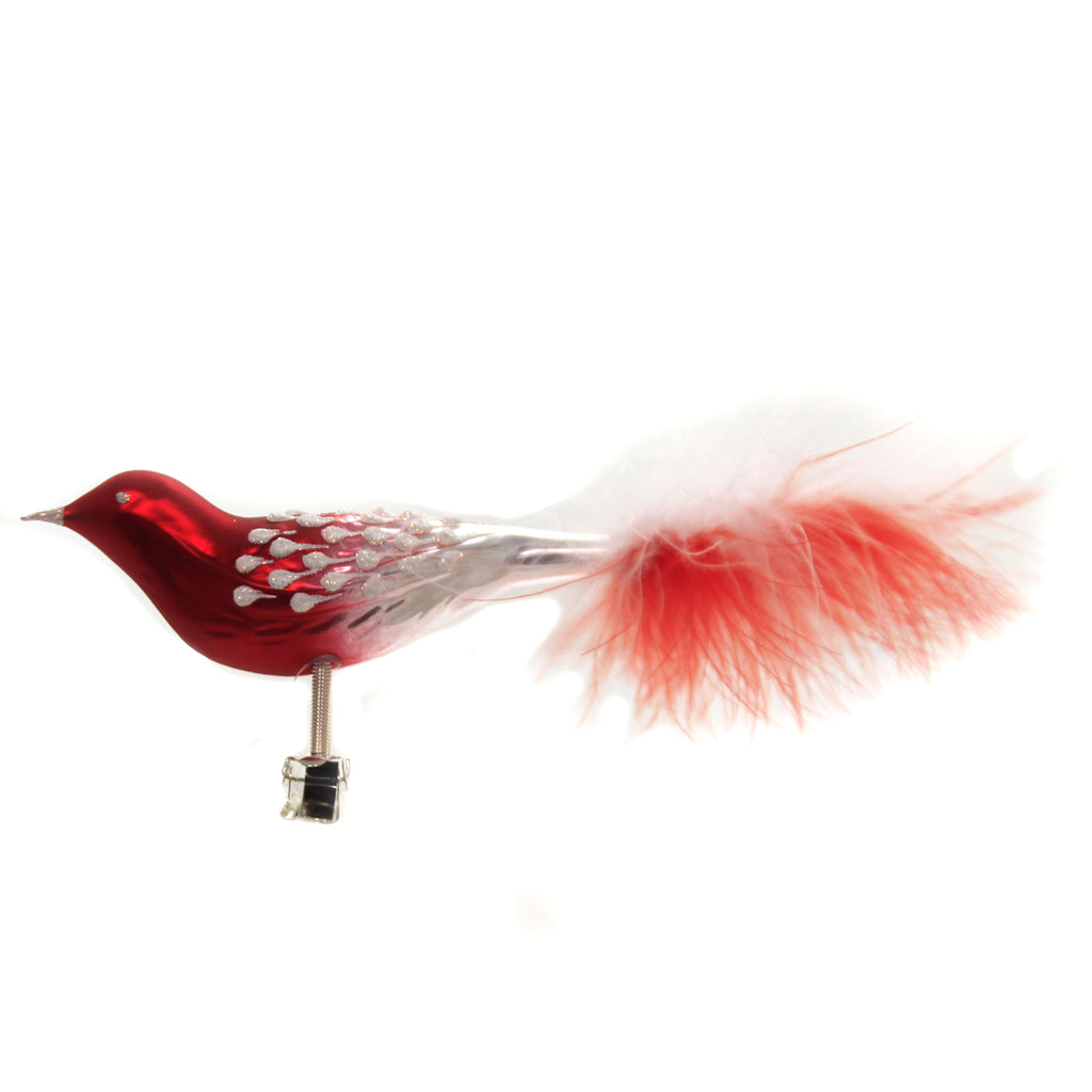 Golden Bell Collection RED/WHITE BIRD FEATHER TAIL Glass Clip-On Ornament Br727