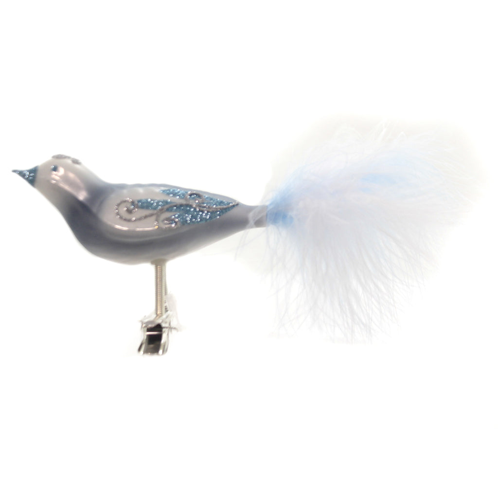 Golden Bell Collection BLUE BIRD WITH GLITTER CLIP ON Feather Tail Ornament Br771