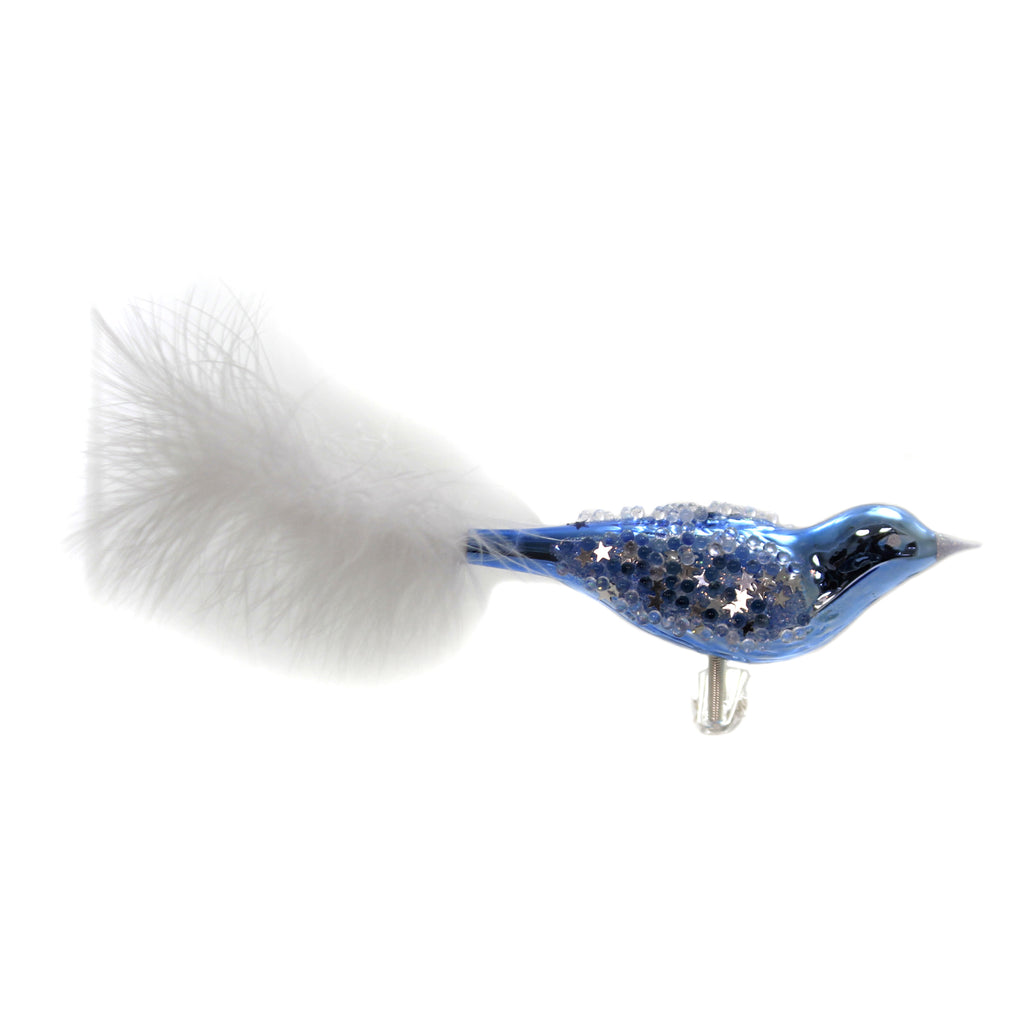 Golden Bell Collection BLUE BIRD W/WHITE FEATHER TAIL Clip-On Ornament Br777