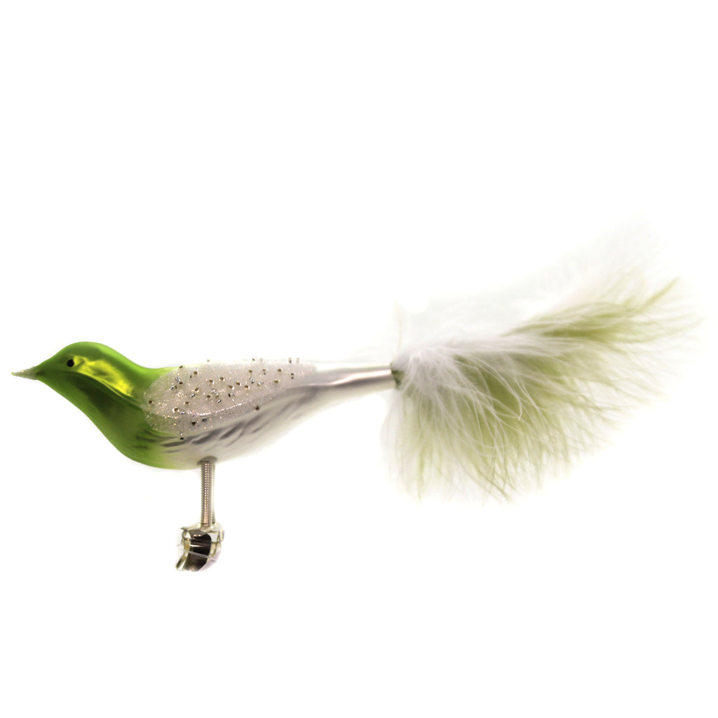 Golden Bell Collection GREEN BIRD WHITE ROCCAIL WINGS Clip On Ornament Br753