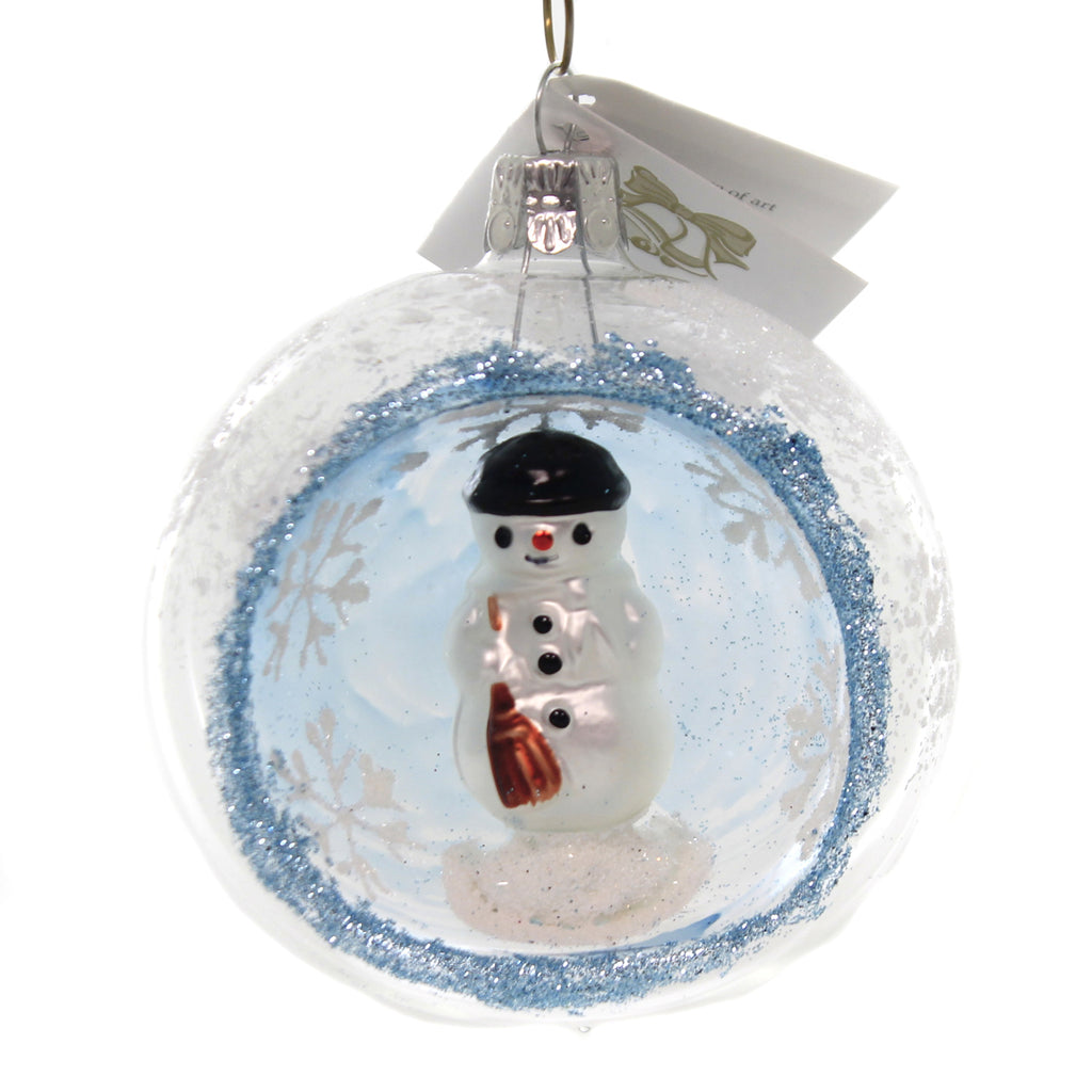 Golden Bell Collection SNOWMAN IN CLEAR GLASS BALL Snowflake Ornament Bm1125