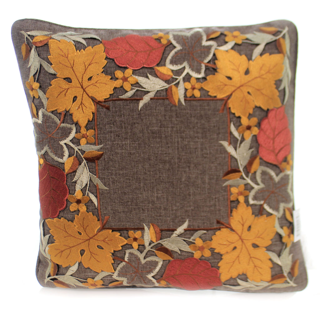 Fall FALL LEAVES PILLOW Fabric Embroidered Cutout 41238A