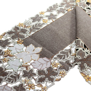 Fall FALL LEAVES TABLE RUNNER Fabric Embroidered Cutout 41238C