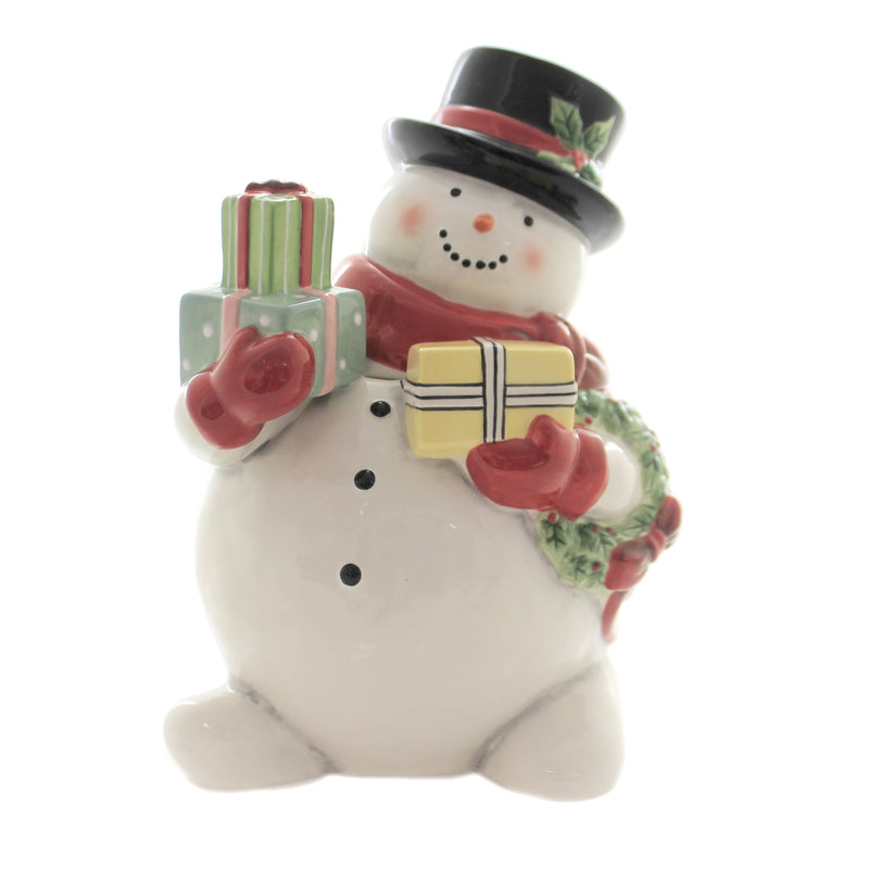 Tabletop BELIEVE SNOWMAN COOKIE JAR Ceramic Christmas Frosty Presents 41817Rm