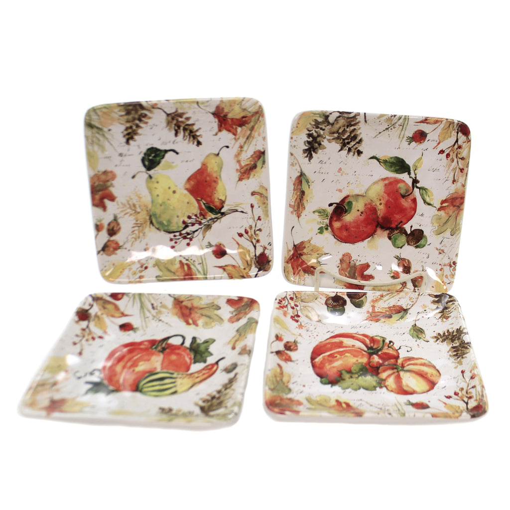 Tabletop HARVEST SPLASH CANAPE PLATES Thanksgiving Fall Pumpkins Pear 41865Rm