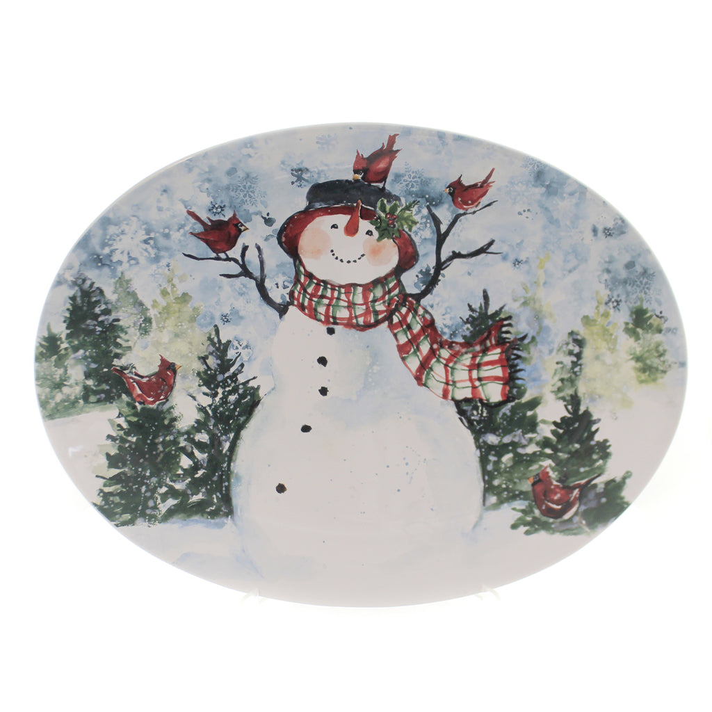 Tabletop WATERCOLOR SNOWMAN PLATTER Ceramic Christmas Oval Red Birds 41826Rm