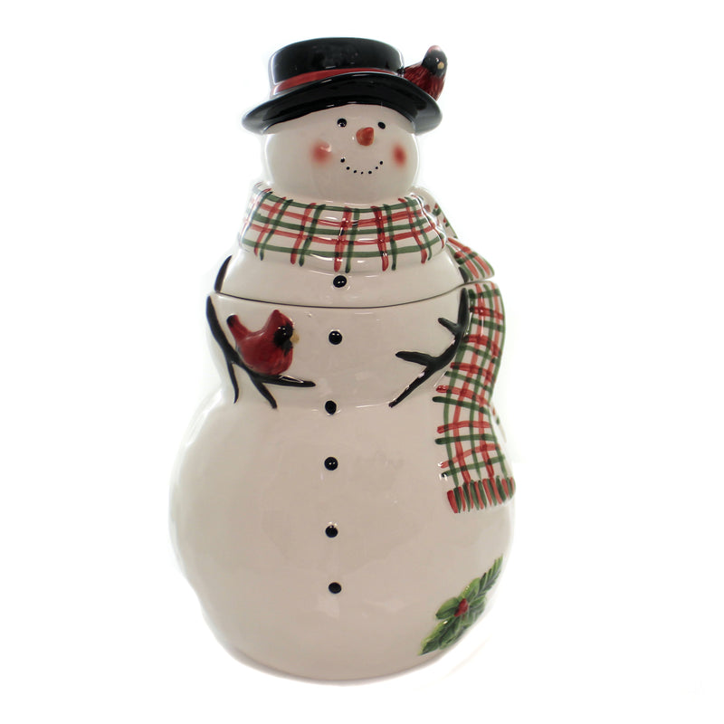 Tabletop WATERCOLOR SNOWMAN COOKIE JAR Christmas Red Bird Cardinal 41832Rm