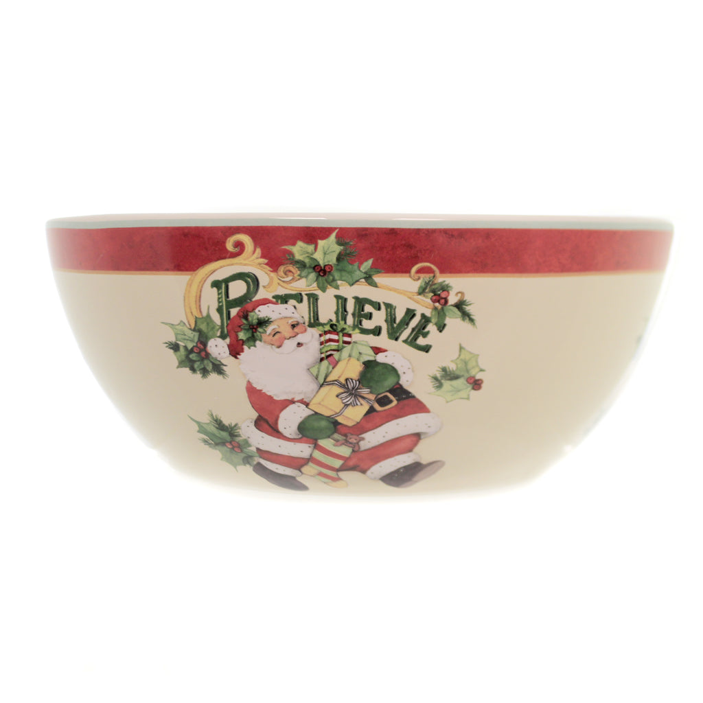 Tabletop BELIEVE SANTA  DEEP BOWL Ceramic Christmas Presents 41809Rm