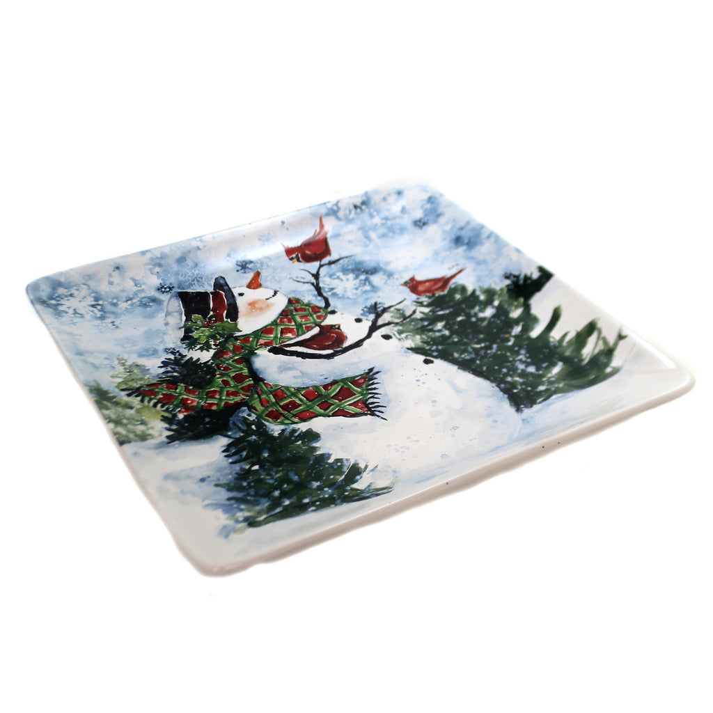 Tabletop WATERCOLOR SNOWMAN PLATTER. Christmas Red Birds Cardinals 41825Rm