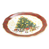 Tabletop VINTAGE SANTA ROUND PLATTER Ceramic Christmas Tree Presents 41874Rm