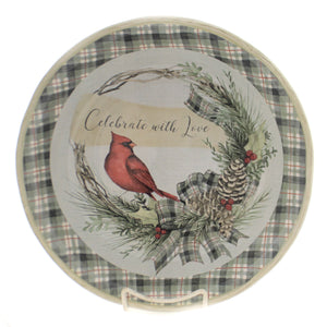 Tabletop HOLLY AND IVY PASTA BOWL Ceramic Christmas Cardinal Red Bird 41906Rm