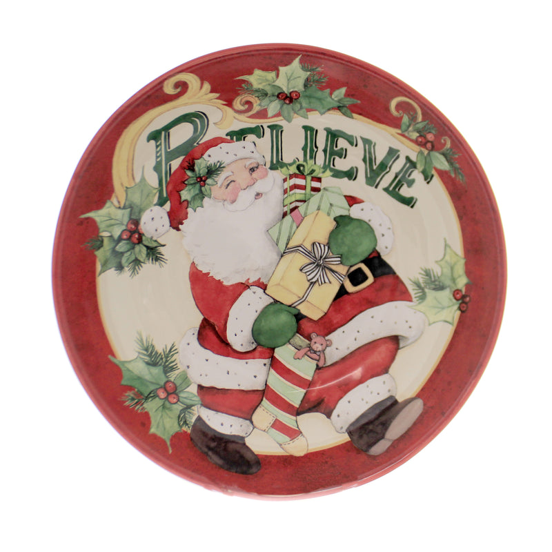 Tabletop BELIEVE SERVING PASTA BOWL Christmas Santa Claus Presents 41805Rm