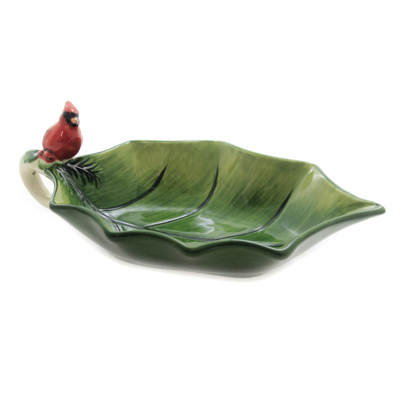 Tabletop CARDINAL 3-D HOLLY LEAF BOWL Ceramic Christmas Red Bird 19216
