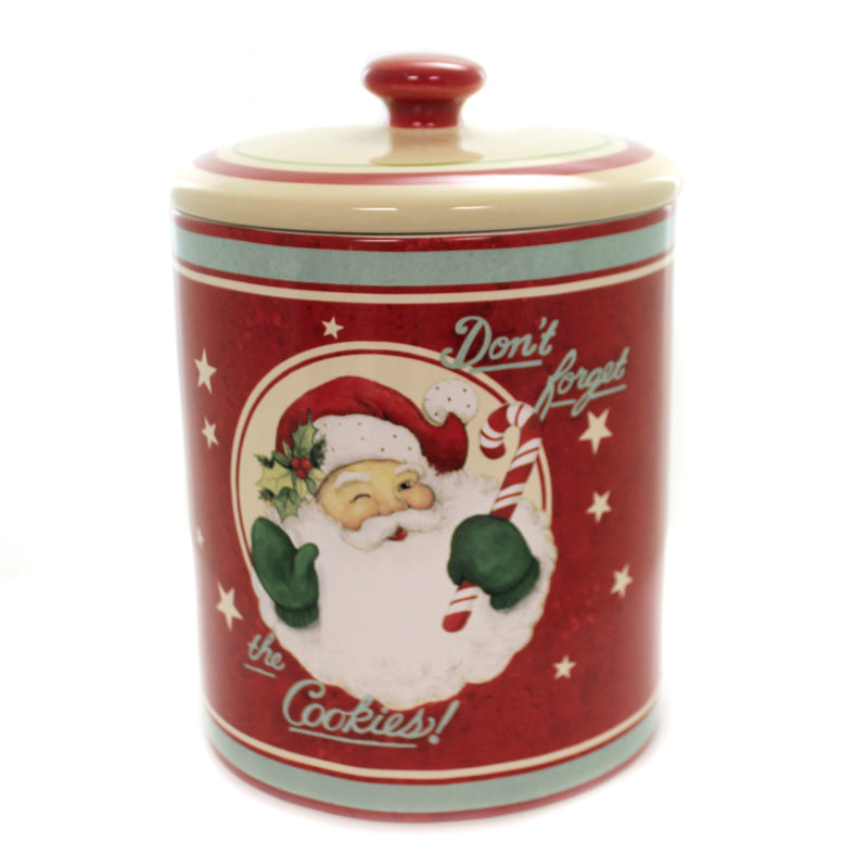 Tabletop BELIEVE BISCOTTI JAR Ceramic Christmas Santa Claus Cookies 41810Rm