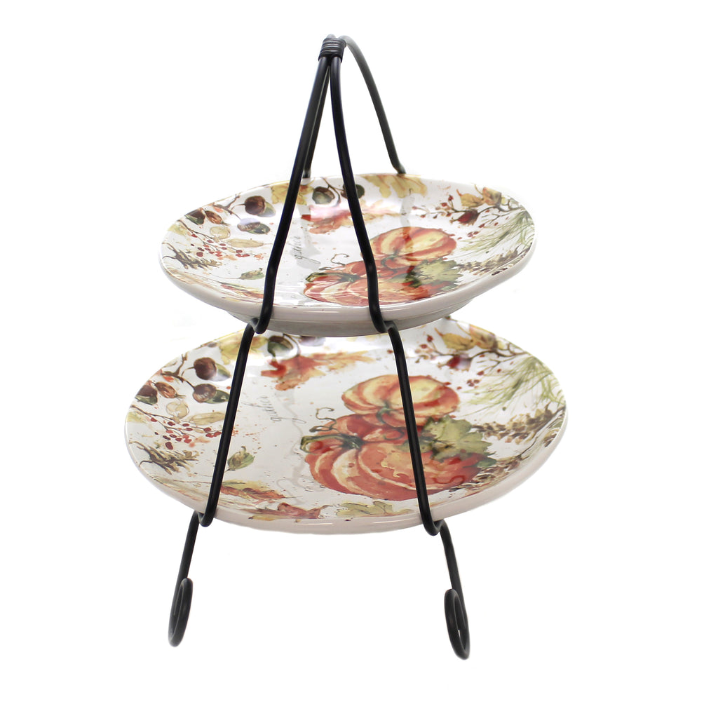 Tabletop HARVEST SPLASH 2 TIER SERVER Thanksgiving Fall Pumpkins 41866Rm