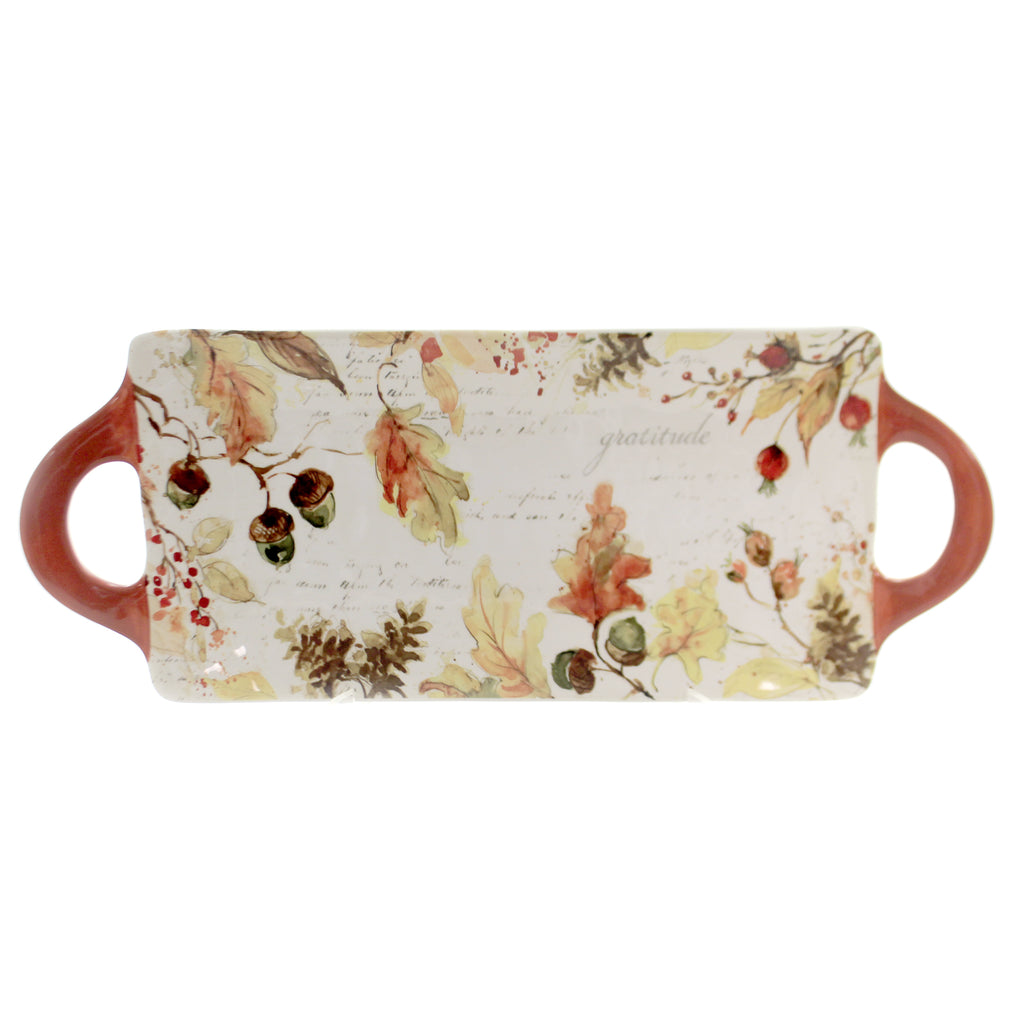 Tabletop HARVEST SPLASH PLATTER. Ceramic Thanksgiving Fall Rectangular 41867Rm