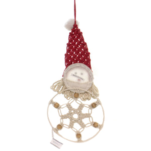 Christmas SANTA DREAM CATCHER Fabric Macrame 160239