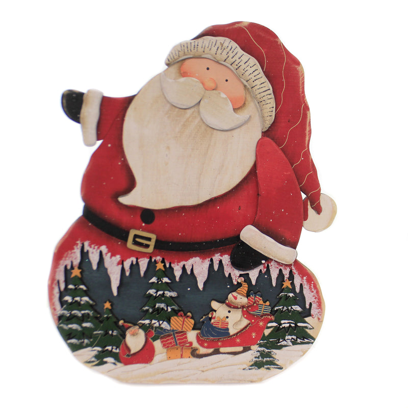 Christmas EASEL BACK WOOD SANTA Wood Snow Village Scene Sleigh 165551