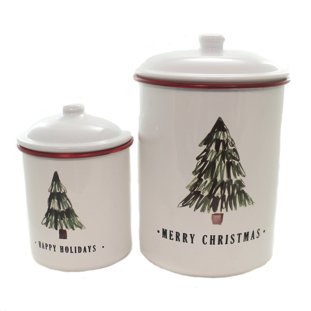 Christmas RED &  WHITE TREE ENAMEL CANISTER SET Decorative Use Only 164511