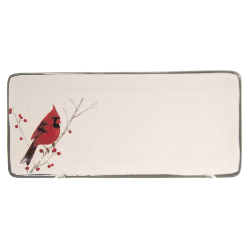 Tabletop CARDINAL WINTER WHITE TRAY Ceramic Christmas Red Bird 1984138