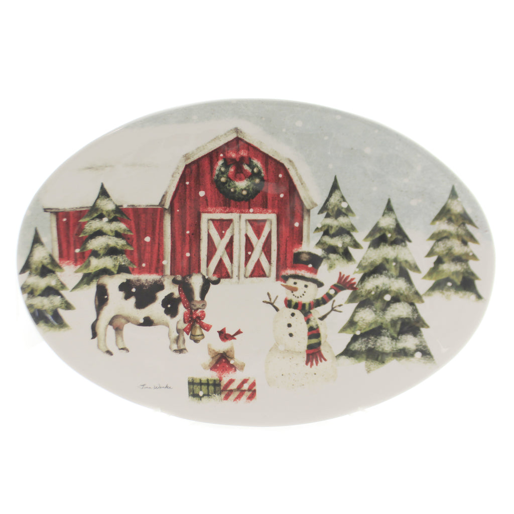 Tabletop COUNTRYSIDE CHRISTMAS PLATTER Ceramic Barn Cow Snowman 1850126