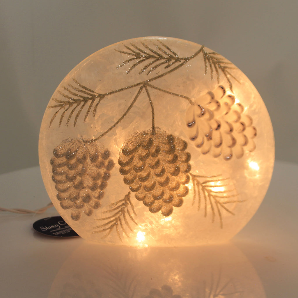Stony Creek STUNNING PINECONE ROUND ORB Glass Pre-Lit Winter Holiday Gpx9261