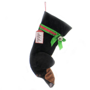 Christmas BLACK & TAN DACHSHUND STOCKING Fabric Dog Puppy Best Friend Hh16