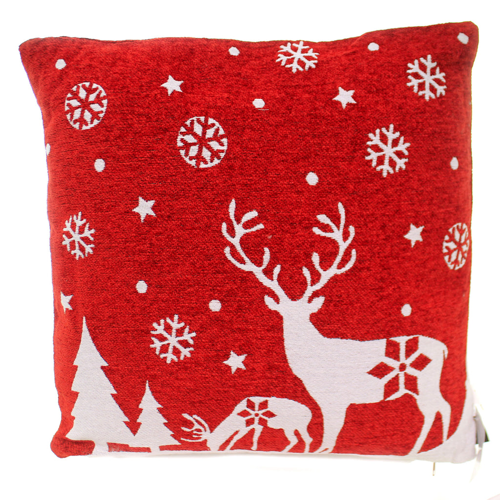 Christmas REINDEER SNOWFLAKE PILLOW Fabric Red & White 53612B