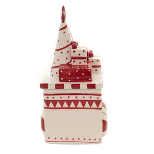 Tabletop PACKAGE & TREE COOKIE JAR Ceramic Red White 53908A