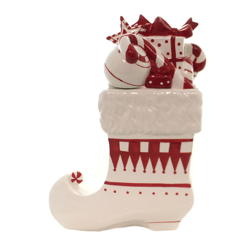 Tabletop STOCKING LIDDED COOKIE JAR Ceramic Red White 53909A